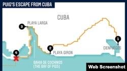 Itinerario de Puig y sus compañeros desde Cienfuegos hasta el punto de encuentro con los traficantes de personas (ESPN Mag)..