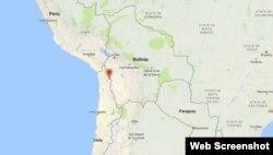 Mapa de Google muestra ubicación de Colchane.