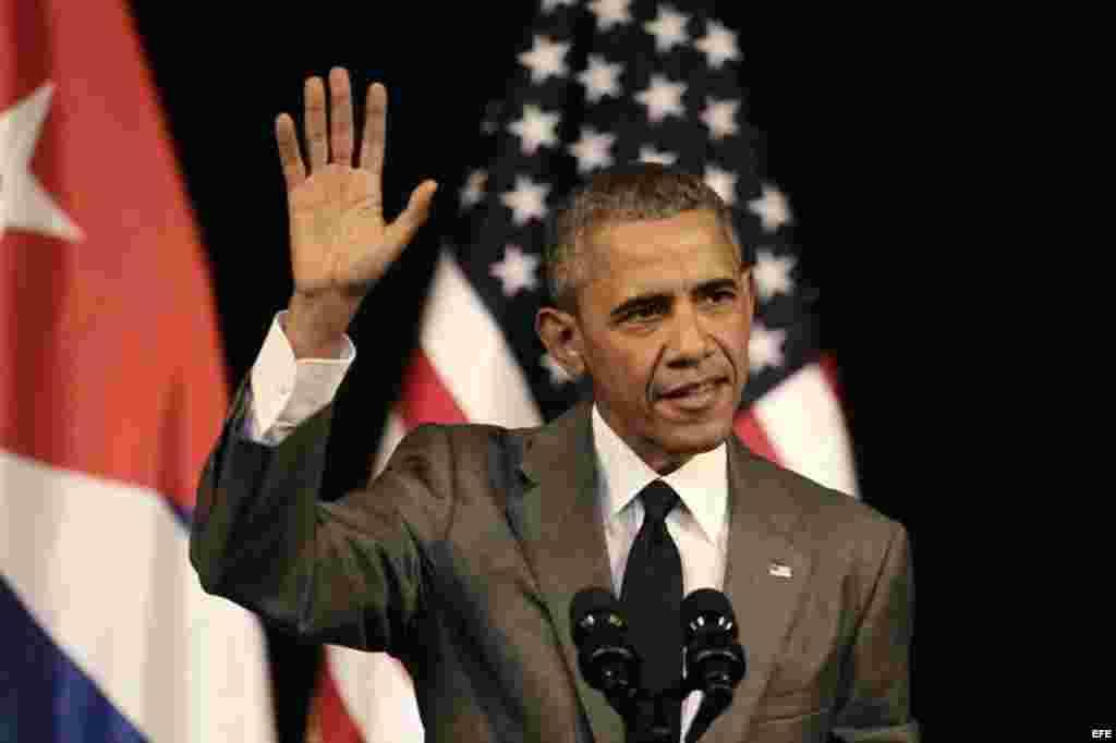 El presidente de Estados Unidos, Barack Obama, ofrece un discurso al pueblo cubano hoy, martes 22 de marzo de 2016, en el Gran Teatro de La Habana en La Habana.