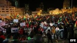 Miles de personas asisten a una movilización hoy, martes 10 de octubre de 2017, en La Paz (Bolivia ).