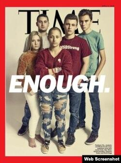 Emma González (centro) junto a otros sobrevivientes de la matanza de Parkland, en la portada de Time.