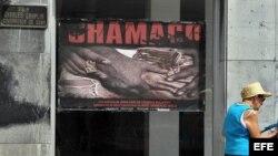 "Vista del cartel promocional de ""Chamaco"", del cineasta cubano Juan Carlos Cremata, en La Habana (Cuba)."