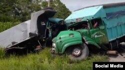 Accidente en la carretera que va desde la ciudad de Bayamo hasta Manzanillo.