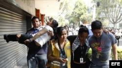 Varias personas son atendidas por crisis nerviosa hoy, viernes 18 de abril de 2014, en Ciudad de México por movimiento sísmico de al menos 7 grados de magnitud en la escala de Richter.