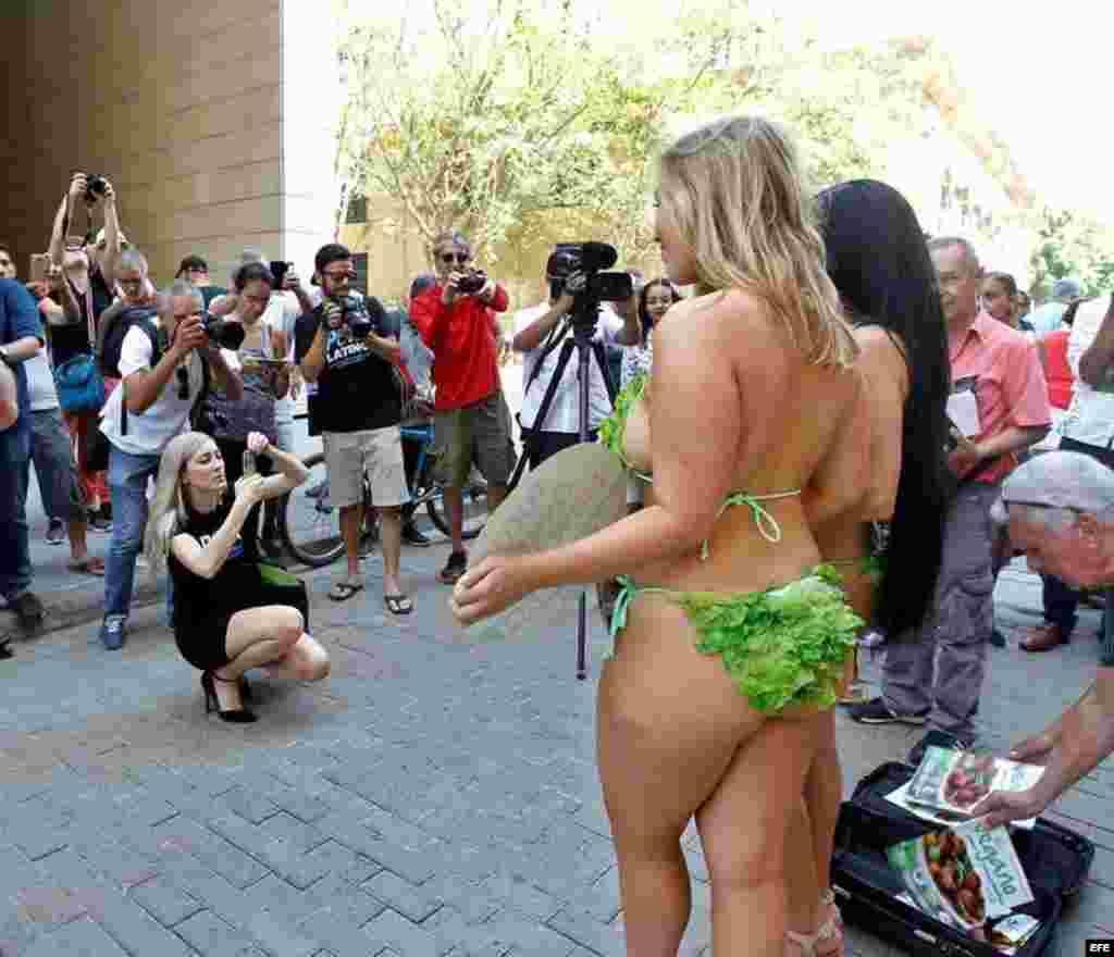Fotógrafos toman fotos a las Damas lechuga, que posan en una calle habanera donde le pidieron a los cubanos que no coman carne...