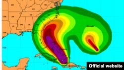 Florida queda cubierta de acuerdo a este mapa pronóstico de la velocidad de los vientos. Mapa NOOA.