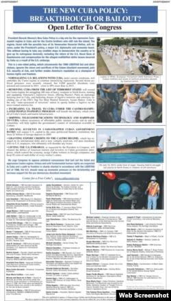 Imagen de la carta abierta de 50 personalidades opuestas a acuerdos EEUU-Cuba.