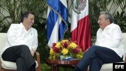 Fotografía cedida por la Secretaría de Relaciones Exteriores de México que muestra a Raúl Castro (d), reunido con el canciller de México, José Antonio Meade (i).