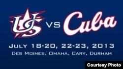Cartel con las fechas y sedes de la primera serie amistosa de béisbol Cuba-EE.UU. desde 1996