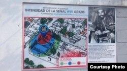 Anuncio del servicio de Internet frente a la residencia del pintor Alexis Leyva (Kcho). Foto: Cortesía, Cubanet.