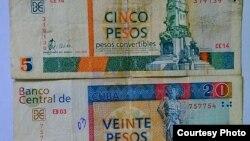 Billetes cubanos de 5 y 20 CUC (pesos convertibles).