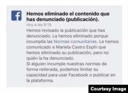 La nota de Facebook bloqueando a Mariela Castro.