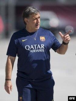 El técnico del FC Barcelona, Gerardo, Tata, Martino.