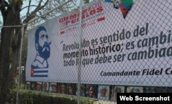 Valla propagandística a favor de Fidel Castro en los predios de la Universidad de Panamá.