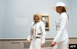 Las primeras damas Melania Trump y Brigitte Macron.