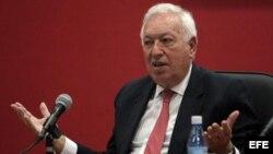 José Manuel García-Margallo, durante una conferencia en el Instituto de Relaciones Internacionales.