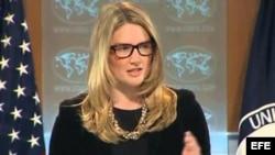 La portavoz del Departamento de Estado, Marie Harf.