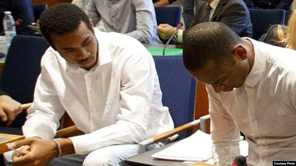 Una imagen tomada durante el juicio en Tampere, Finlandia, contra voleibolistas cubanos acusados de violación agravada.