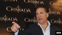 """El actor Andy García durante una rueda de prensa promocional de la película """"Cristiada"""" en Ciudad de México (México)."""