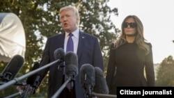 Donald y Melania Trump se reúnen con víctimas de la masacre en Las Vegas.