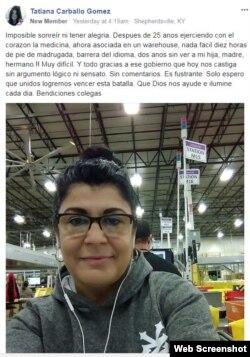 Un post publicado en la página de Facebook creada por los médicos cubanos.