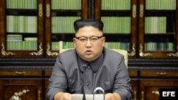 Kim Jong-Un ofrece declaraciones en Piongyang. (Archivo)