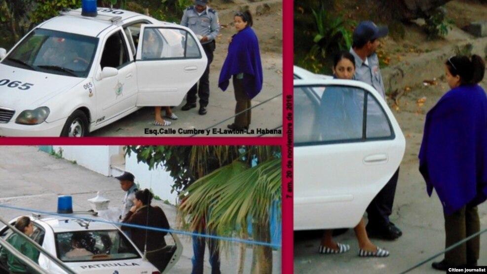 Vigilancia policial frente a la sede de las Damas de Blanco, en Lawton, La Habana.