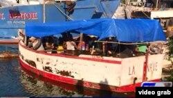 En esta embarcación hicieron 16 cubanos la travesía entre Manzanillo, Cuba, y La Ceiba, Honduras.
