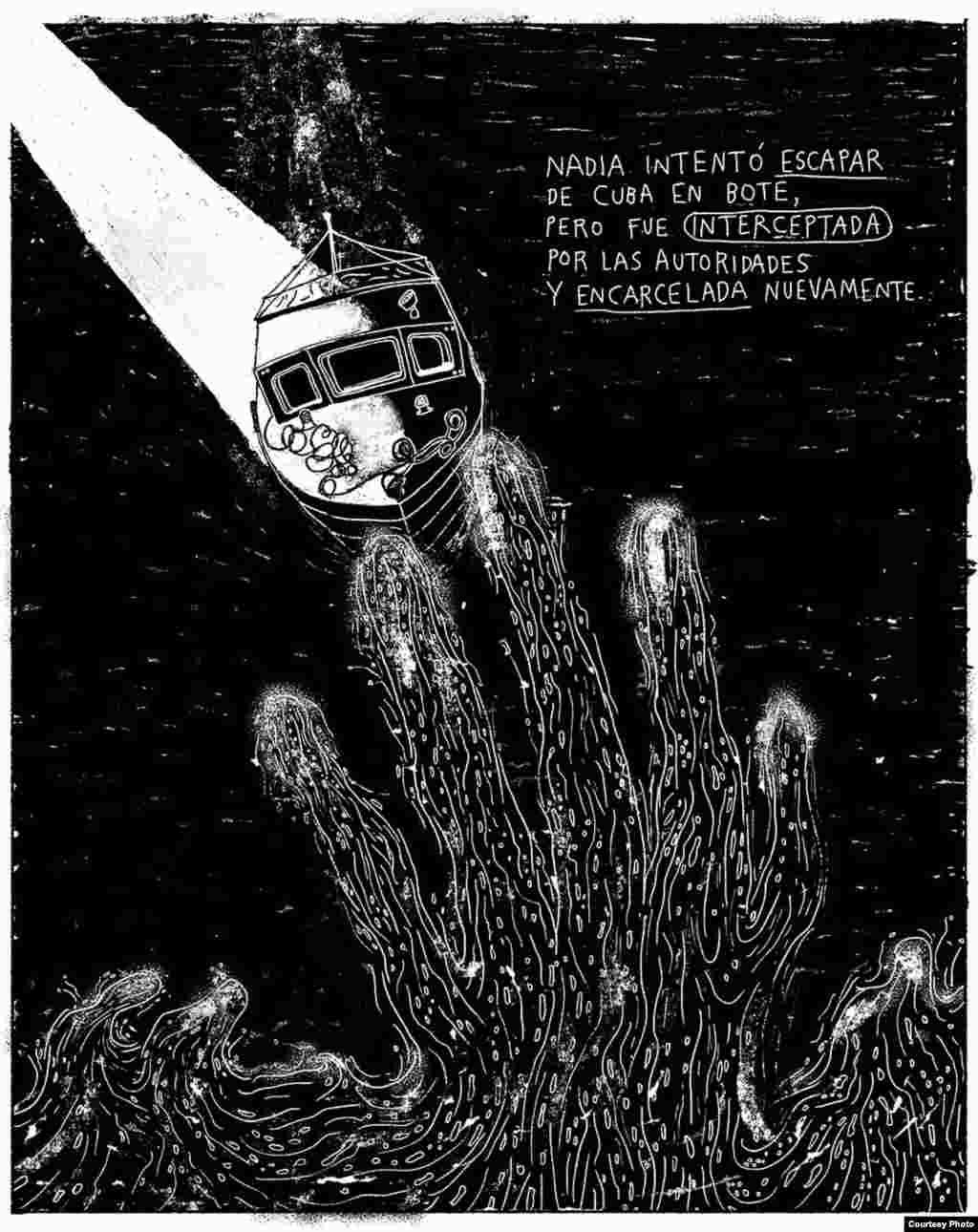 """""""Nadia"""", (V) historieta de la serie """"Unas vidas cubanas"""", del ilustrador mexicano Joan X. Vázquez. Cortesía Amnistía Internacional."""