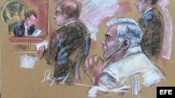 Boceto del juicio a Luis Amando Pena,octubre 13, Tribunal del Distrito Sur de Nueva York