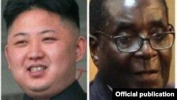 El norcoreano Kim Yong Un y Robert Mugabe, de Zimbabue, aliados del gobierno de Cuba.