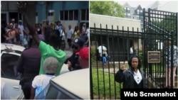 Yasser Rivero (de espaldas con pullover verde al momento del arresto) y Yaquelín Boni, frente a embajada cubana en Washington.