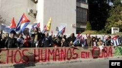 Foto de archivo: Manifestación de los exiliados cubanos en Madrid pidiendo por el respeto a los derechos humanos en Cuba