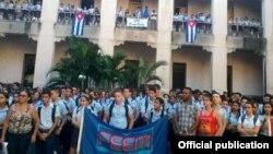 """Más de 600 estudiantes del Instituto Preuniversitario """"Álvaro Morell Álvarez"""" manifestaron este miércoles su repudio a las maniobras injerencistas de la organización World Learning, con el ofrecimiento de becas para que los jóvenes cubanos cursen estudios"""