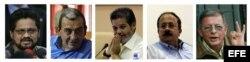 """Combo de fotografías de archivo sin fechar que muestra, de izquierda a derecha, a los representantes de las Fuerzas Armadas Revolucionarias de Colombia (FARC) para negociar la paz con el Gobierno colombiano Luciano Marín, alias """"Iván Márquez""""; Mauricio Ja"""