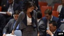La Embajadora de EE.UU. Nikki Haley abandona una reunión del Consejo de Seguridad de la ONU sobre Siria