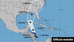 Pronóstico de trayectoria de la depresión tropical número 16 de esta temporada de huracanes en el Atlántico. (NHC)
