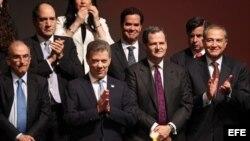 El Presidente de Colombia, Juan Manuel Santos, en la firma del nuevo acuerdo de paz, Bogotá.