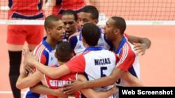 El equipo cubano de voleibol en el Mundial de Polonia 2014.