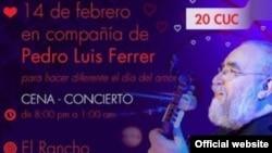 La promoción del concierto de Pedro Luis Ferrer en La Finca