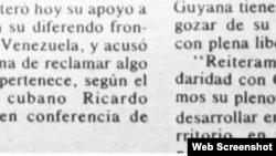 Posición oficial de Cuba sobre conflicto entre Guyana y Venezuela, 1981