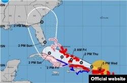 Pronóstico de la trayectoria del huracán Irma. (NHC)