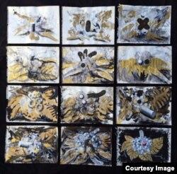 Panspermia/Terraforming, 2012. Técnica mixta, tintura de oro, gouache y tinta sobre mosaico de papel (130 x 134cm). Obra de Adrián Morales en ART4PEACE.