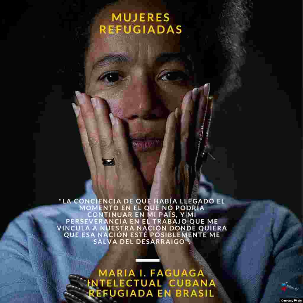 María Ileana Faguaga Iglesias, cubana refugiada en Brasil. Cartel de @alambradas.