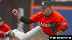 El joven pitcher cubano José Fernández inicia una excelente temporada con los Marlins, de la Florida.