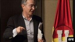 El expresidente colombiano Álvaro Uribe Vélez en Bogotá, a la séptima Asamblea del Partido Social de Unidad Nacional (Partido de la U).