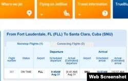 Pizarra online de JetBlue muestra salida puntual de primer vuelo comercial programado entre EEUU y Cuba.