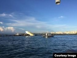 Escena del mortal accidente de bote en el que falleció José Fernández. (Foto: Departamento de Bomberos Miami-Dade)