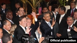 Obama, Raúl Castro y el Juan Carlos Varela.