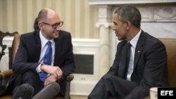 Barack Obama y el primer mistro ucraniano, Arseni Yatseniuk.